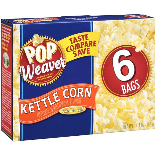 Pop Weaver Kettle Corn Microwave Popcorn, 6 pk