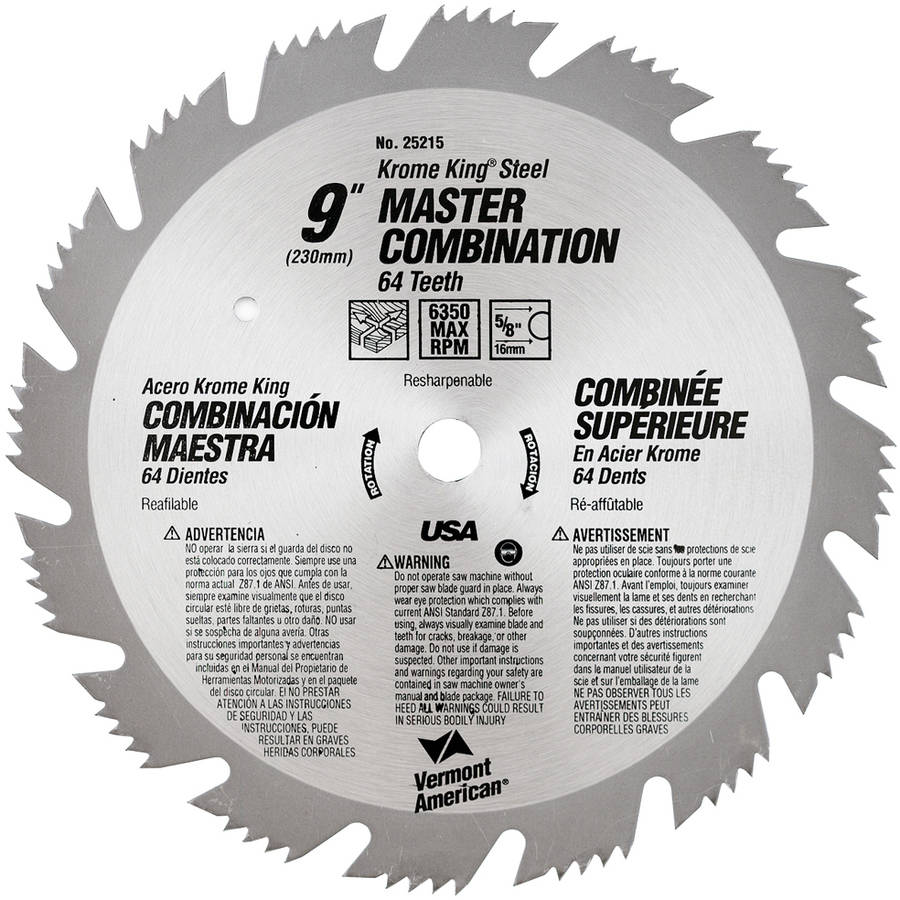 "Vermont American 25215 9"" 64T Krome King Master Combination Circular Saw Blade"