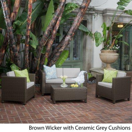 Christopher Knight Home Puerta Outdoor Wicker Sofa Set By Walmart Com