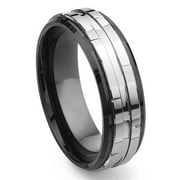 Titanium Kay Black Tungsten Carbide Two Tone Comfort Fit Mens Wedding Band Ring Sz 10.0
