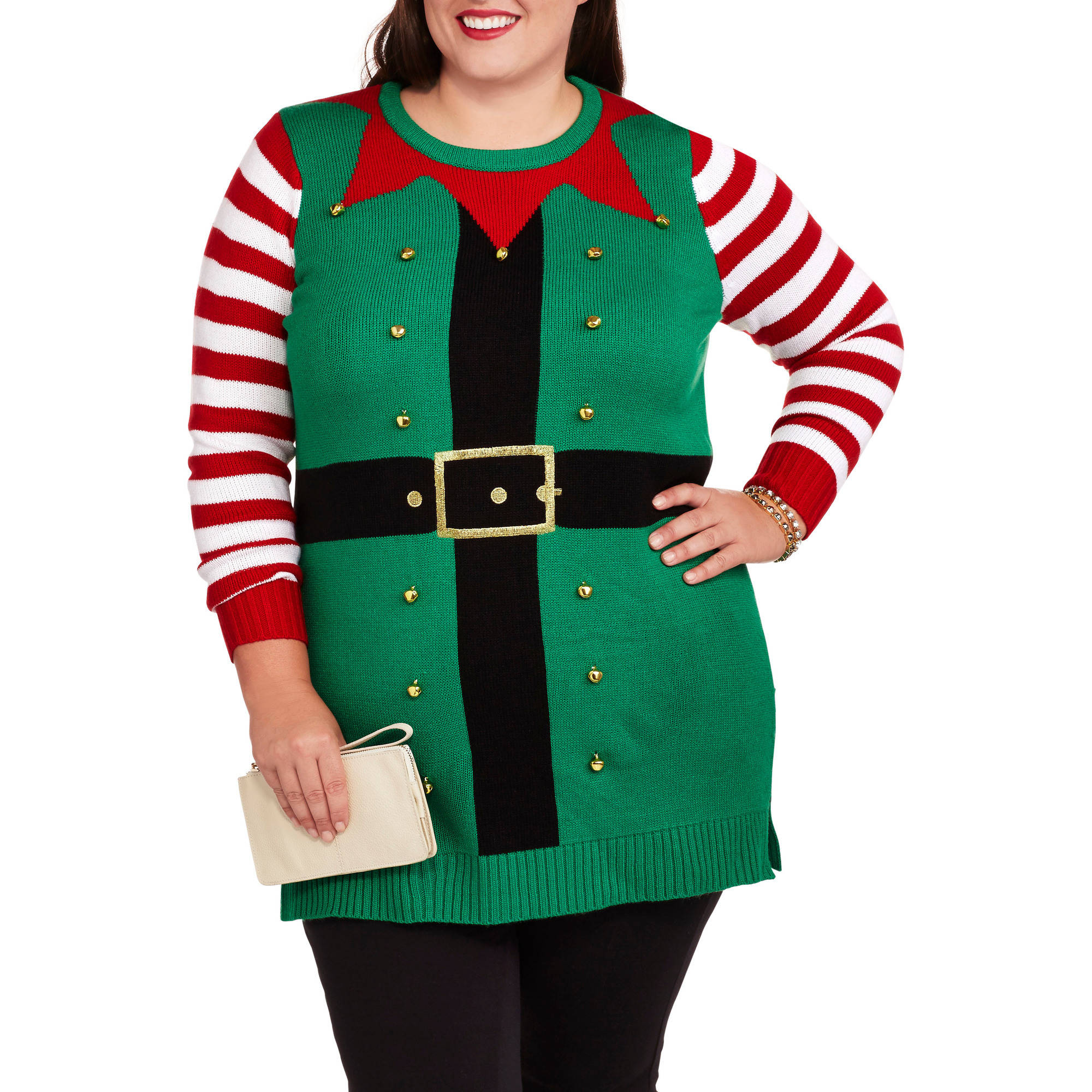 Holiday Time Women's Plus Elf Christmas Sweater Tunic