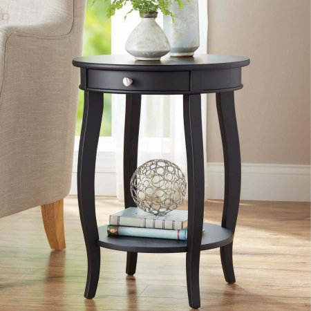 Better Homes & Gardens Round Accent Table with Drawer, Black