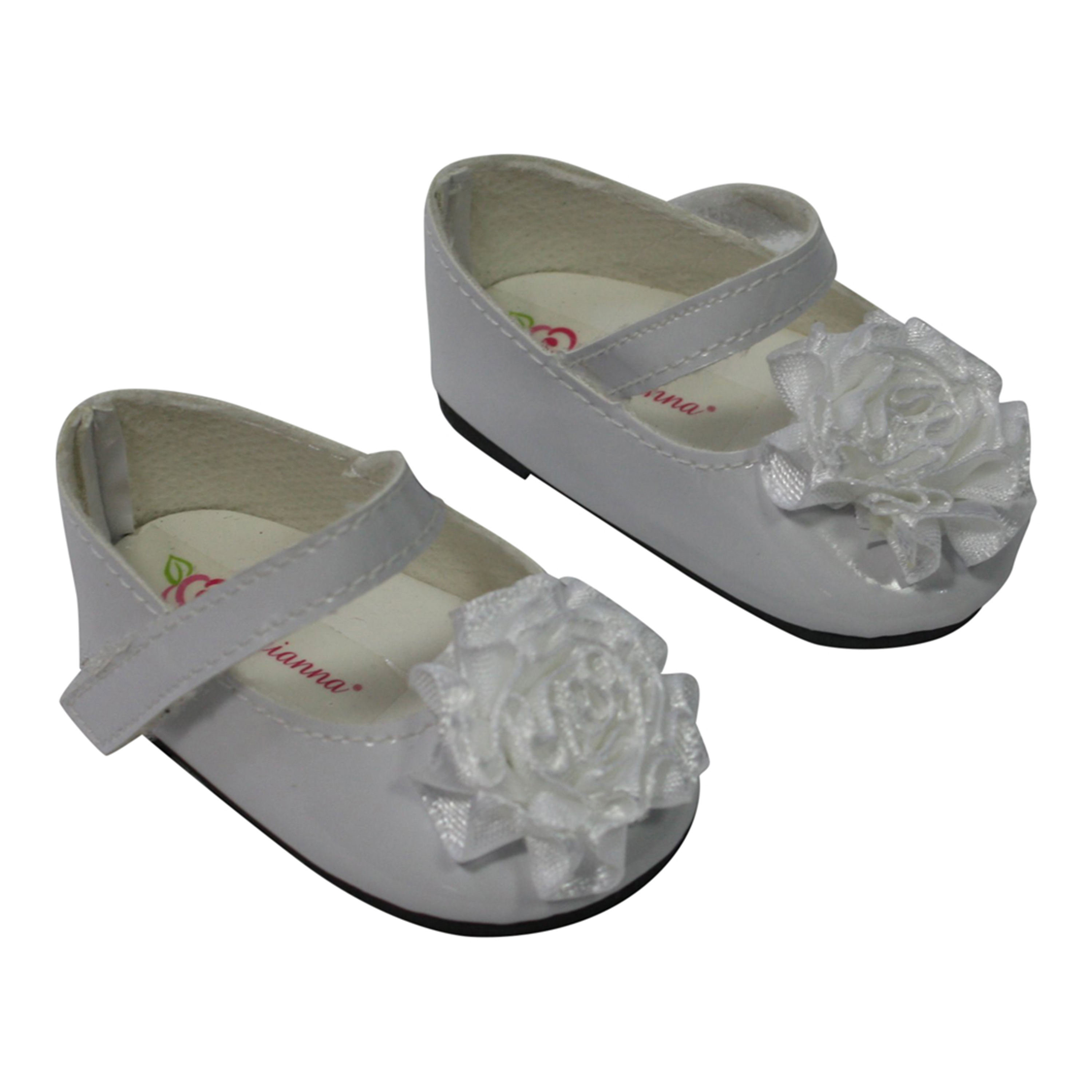 Arianna White Chiffon Flower Mary Jane Dress Shoes Fits American Girl 18 Inch Doll