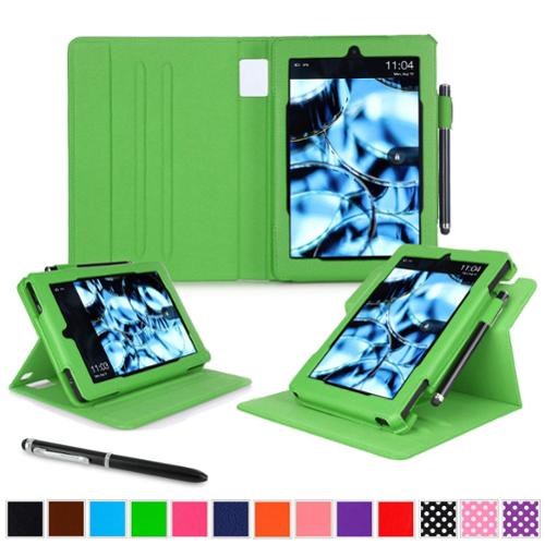 Kindle Fire HD 7 Tablet (2014) Case, roocase 2014 Kindle Fire HD 7 Dual View Folio Case with Sleep / Wake Smart Cover Stand for 2014 Model Fire HD 7 Tablet (4th Generation), Green