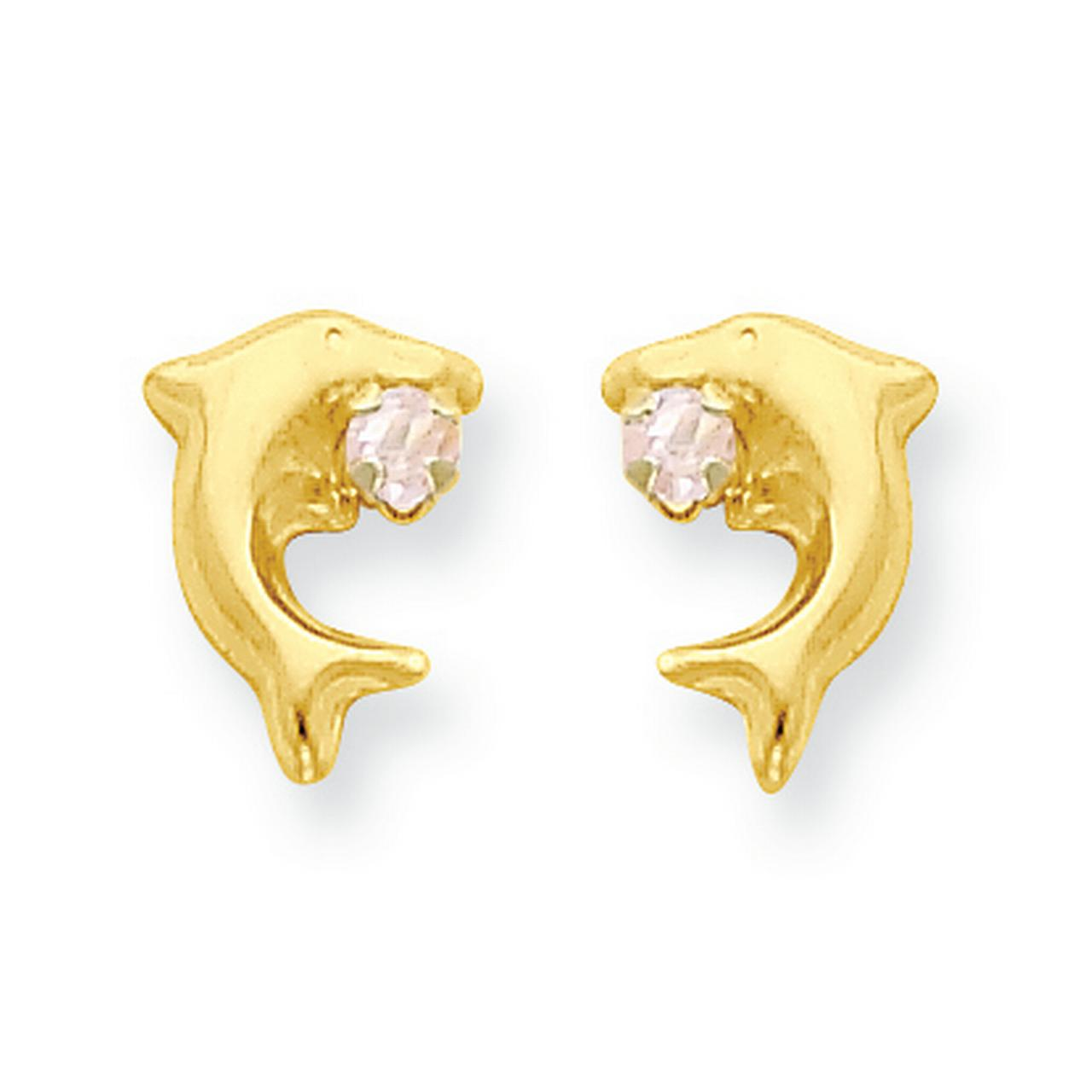 14k Madi K CZ Childrens Dolphin Post Earrings in 14k Yellow Gold