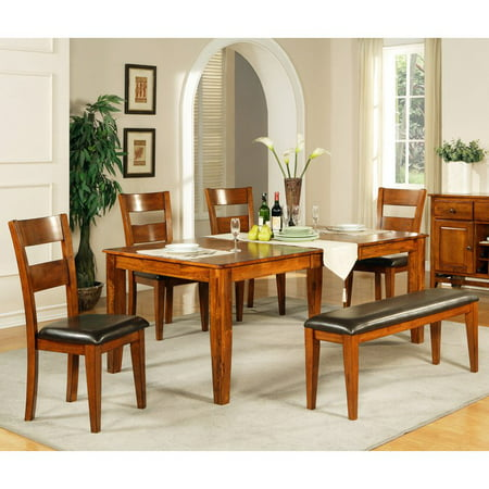Steve Silver Mango 6-Piece Dining Table Set - Light Oak - Walmart.com