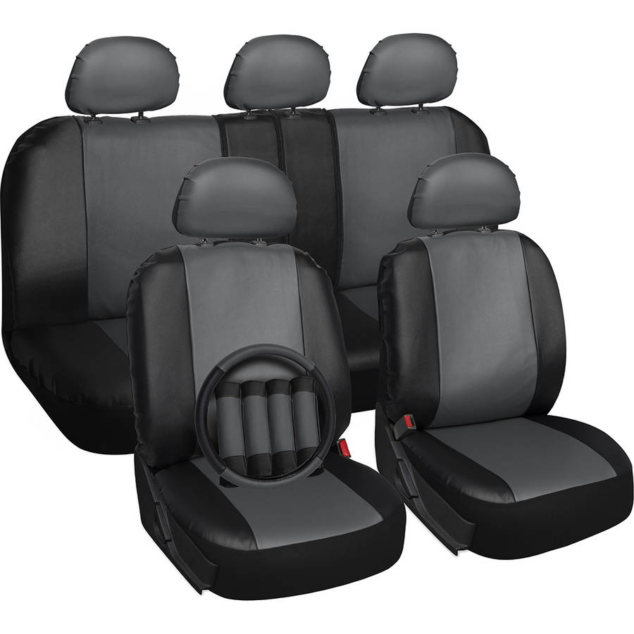 Oxgord 17-Piece Set Faux Leather/Auto Seat Covers Set, Airbag Compatible, 50/50 or 60/40 Rear Split Bench, Universal Fit for Car, Truck, or SUV, FREE Steering Wheel Cover, Gray