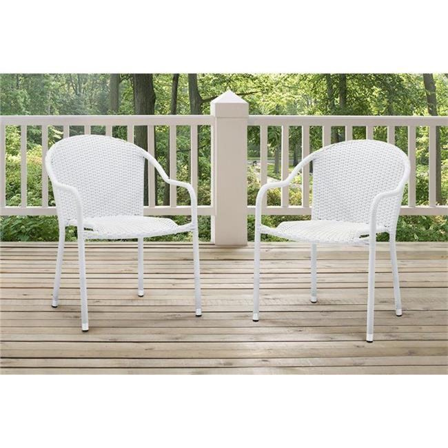 Palm Harbor Outdoor Wicker Stackable Chairs, White - Set of 2