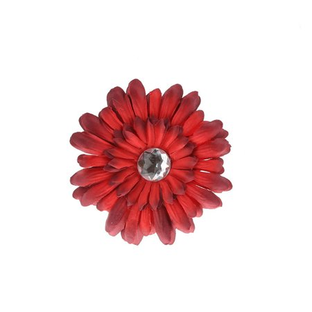 Hair Accessory Red Rhinestone Daisy Flower Hairclip](Daddy Clips)