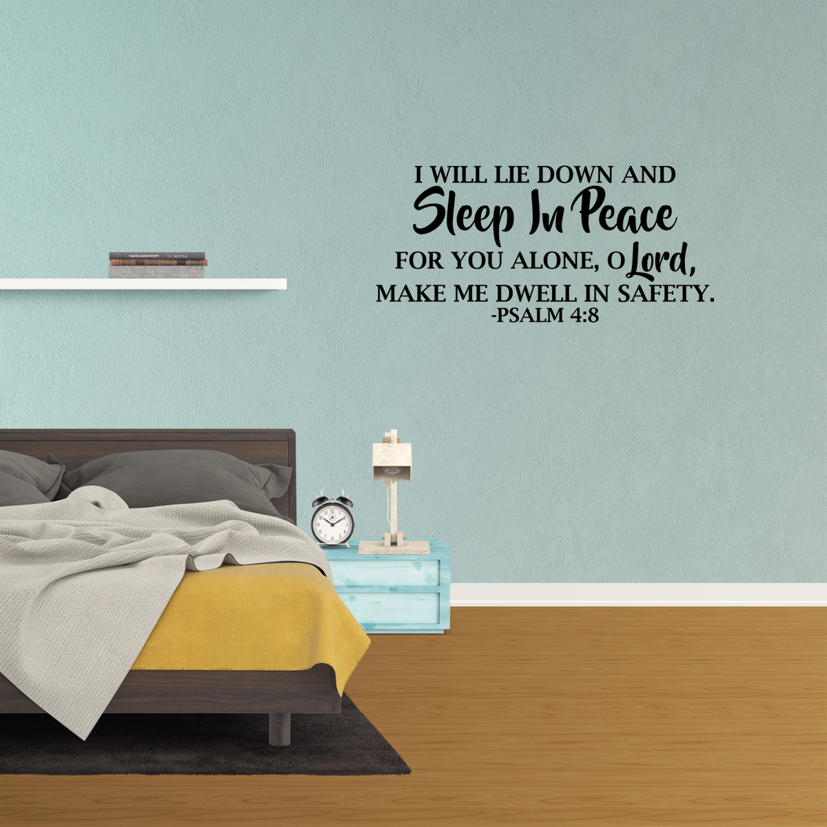 Bible verse decal Psalm 4:8,Bedroom wall decal Home quote decal Marriage wall decal