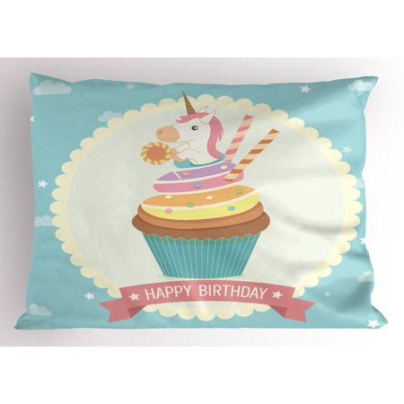 Unicorn Party Pillow Sham Fairy Tale Character Sitting on Cupcake with Frosting Birthday Theme Cartoon, Decorative Standard Queen Size Printed Pillowcase, 30 X 20 Inches, Multicolor, by Ambesonne (Cupcake Birthday Theme)