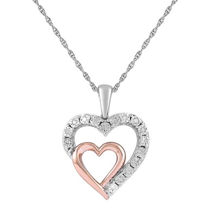 Sterling Silver 14k Rose Gold Diamond Accent Double Heart Pendant