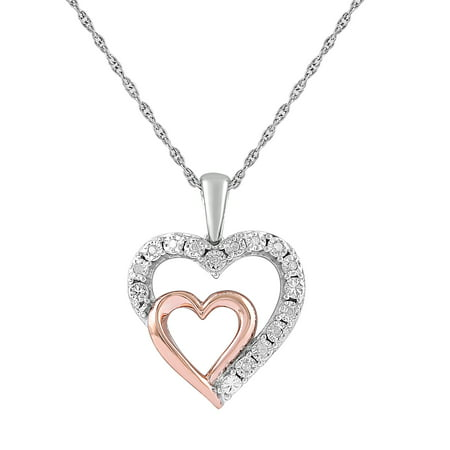 Sterling Silver 14k Rose Gold Diamond Accent Double Heart Pendant (Rose Gold White Gold Necklace)