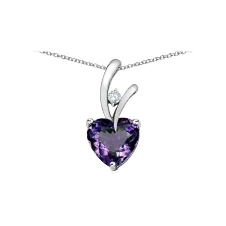 Alexandrite Heart Pendant (Heart Shaped 8mm Simulated Alexandrite Endless Love Pendant Necklace in Sterling Silver)