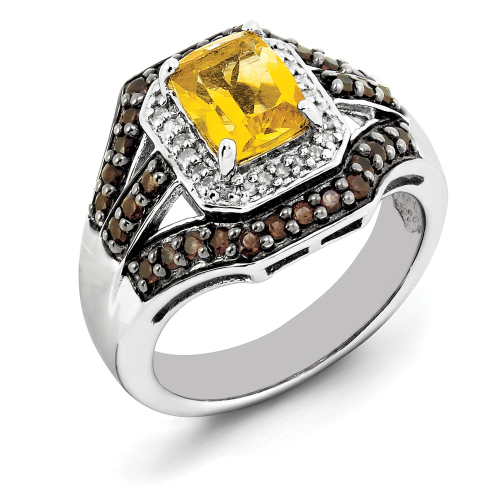 925 Sterling Silver Citrine and Smoky Quartz and Diamond Ring Size-9