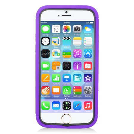 Insten Hybrid Case with stand/card slot For Apple iPhone 6/6s - Purple/Black - image 1 de 4