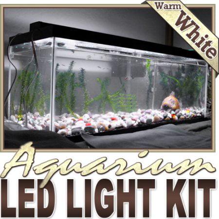 Biltek 6' ft Warm White Aquarium Saltwater White LED Strip Lighting Complete Package Kit Lamp Light DIY - Main Lighting Sub Fresh Water Salt Water Tank Water Resistant 3528 SMD - Aquarium Strip Light