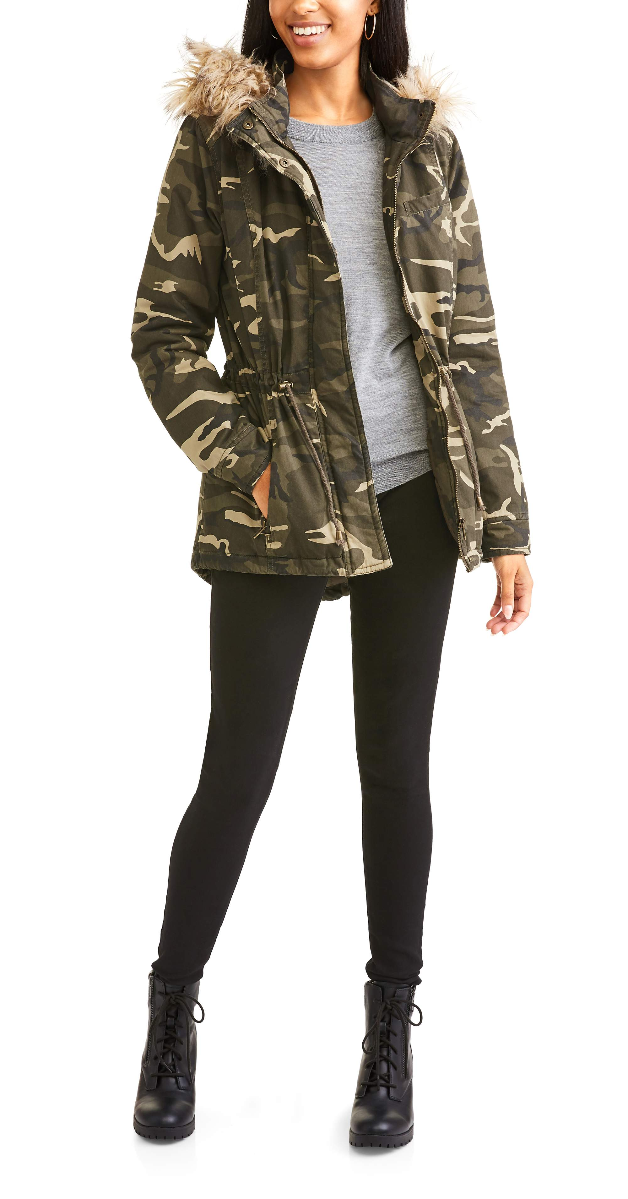 f1d6675646c Buy Jason Maxwell Women s Quilted Twill Anorak With Faux Fur Hood ...