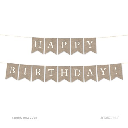 Happy Birthday! Burlap Pennant Party Banner](Burlap Birthday Banner)