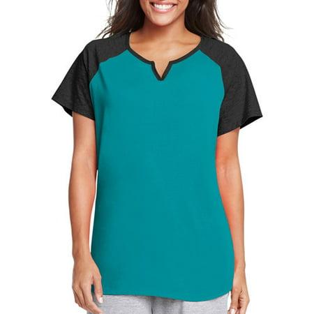 fe53439c4 Just My Size - by Hanes Women's Plus-Size Colorblock Short Sleeve Raglan  Split Neck Tee - Walmart.com