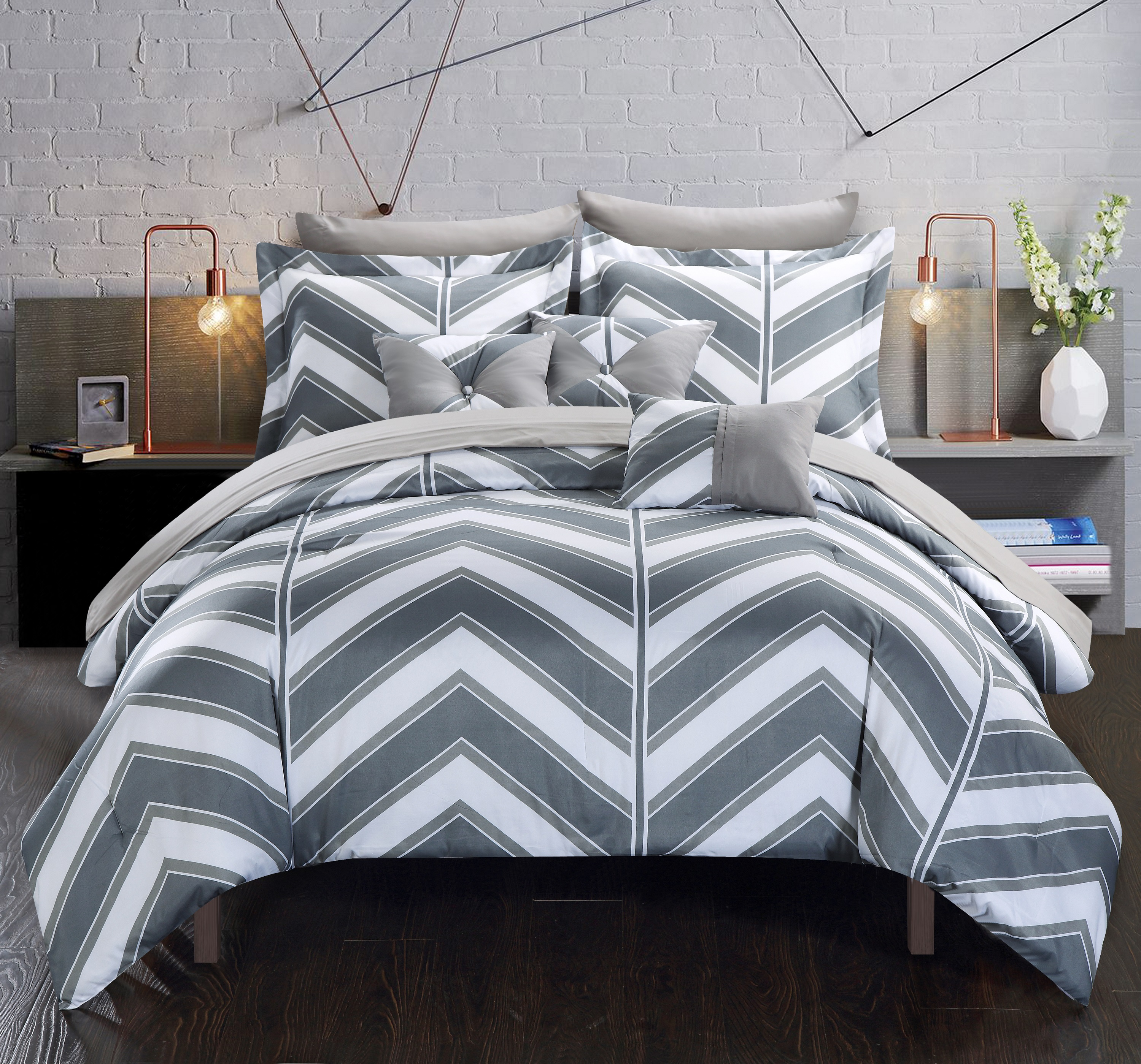 Chic Home 10 Piece Roxy Reversible Bed In a Bag Comforter Set Queen, Grey