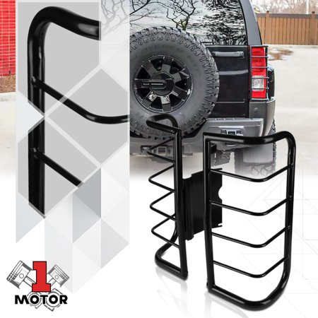 Black Stainless Steel Tail Light/Lamp Guard Protector Cover for 06-10 Hummer H3 07 08 (Black Light Covers Stainless Accessories)