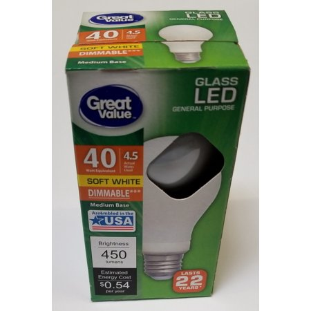Great Value LED General Purpose Bulb, 4.5W, Soft White