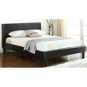 Bonded Leather Upholstered Platform Bed Frame