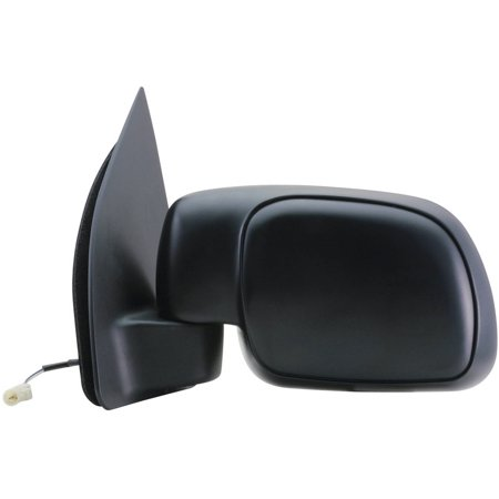 61092F - Fit System Driver Side Mirror for 99-00 Ford F250, F350, F450, F550 Super Duty Pick-Up, black, foldaway, flat lens, -