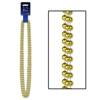 """Club Pack of 36 Gold Large Round Beaded Necklace Party Favors 48"""""""