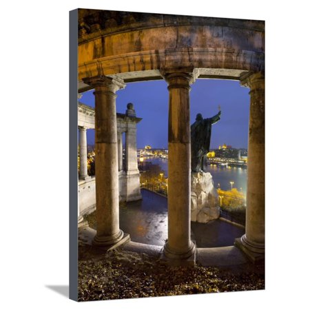 Gellert Monument with View over River Danube and City at Dusk, Gellert Hill, Budapest, Hungary, Eur Stretched Canvas Print Wall Art By Stuart Black ()