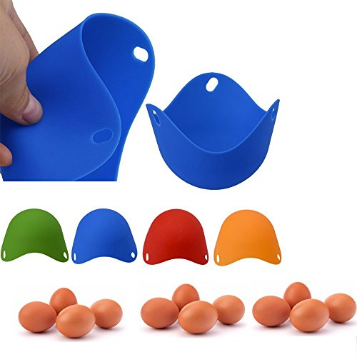 mold ,SUPPION 4PCS Kitchen Silicone Egg Poacher Poaching Poach Cup Pods Mould