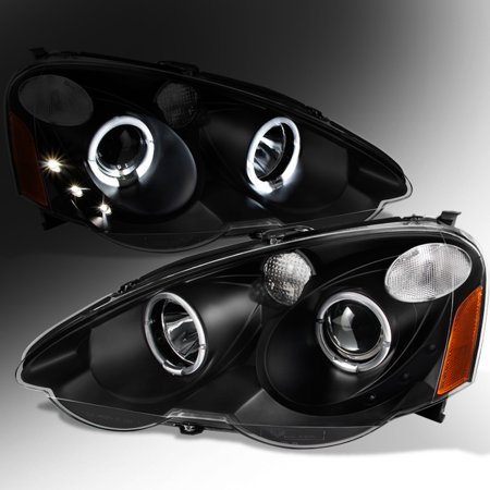 Fit 02-04 Acura RSX Integra DC5 Black Halo Projector LED Headlights Replacement (02 Acura Rsx)