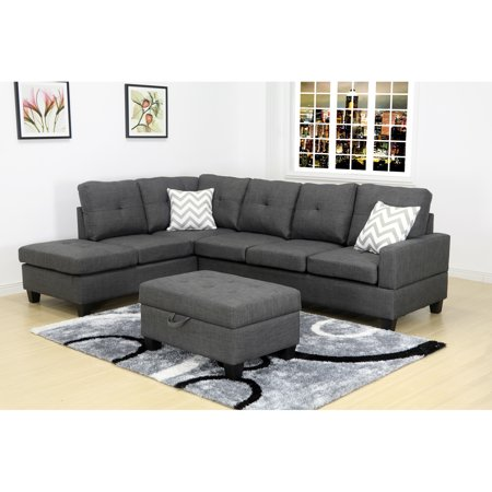 Evelyn Dark Grey Left Facing Sectional Set with Storage Ottoman