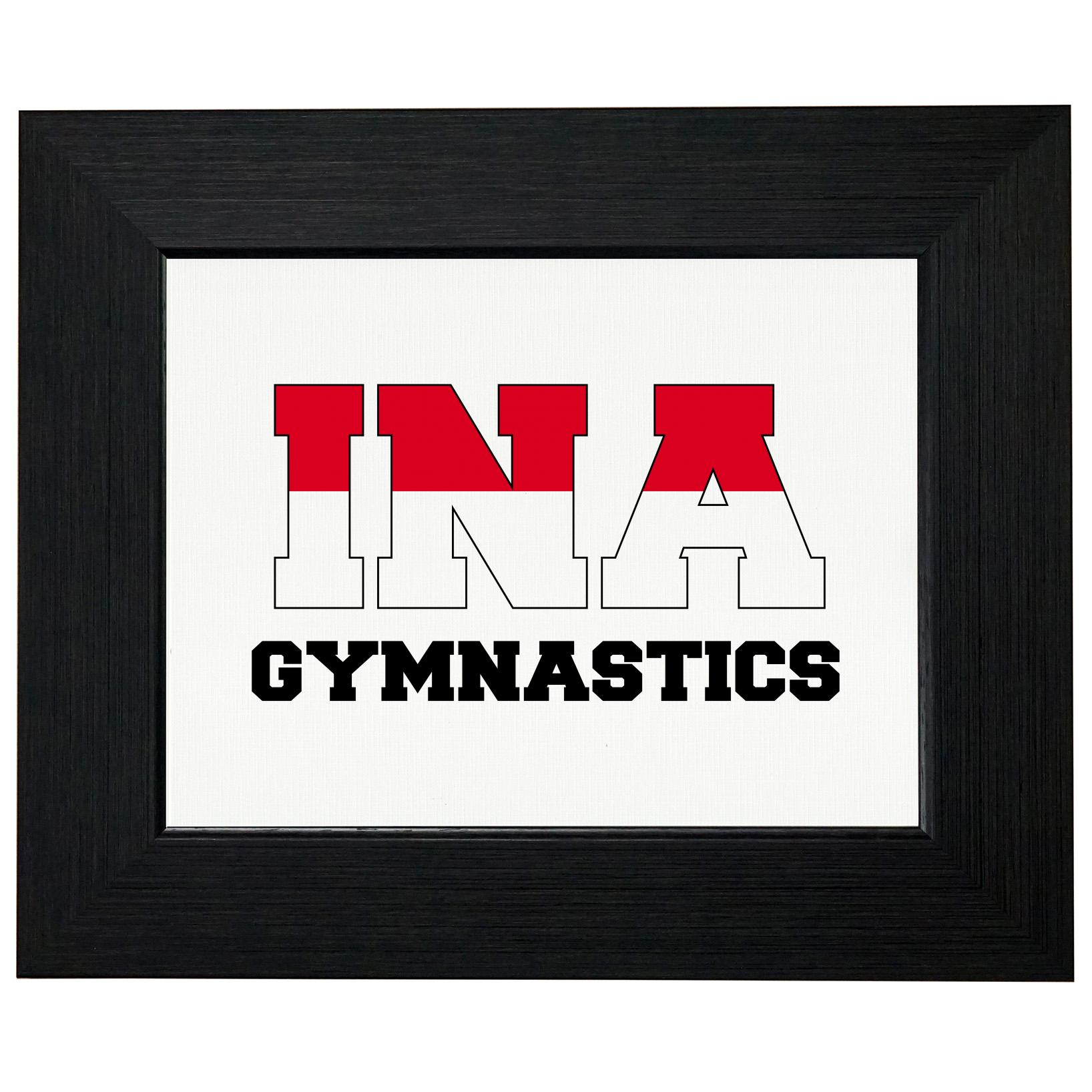 Indonesia Gymnastics - Olympic Games - Rio - Flag Framed Print Poster Wall or Desk Mount Options