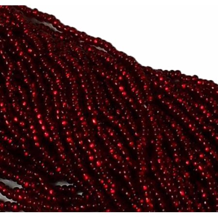 Bead On Beads (Ruby Red Copper Lined Preciosa Czech Glass 6/0, Loose Seed Beads, on Loose Strung 6 String)