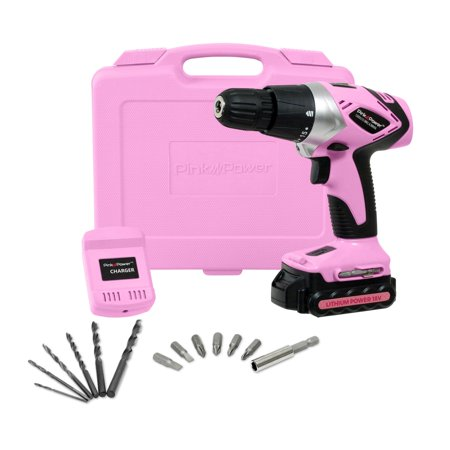 Pink Power PP181LI 18 Volt Lithium-Ion Electric Drill Driver Kit for Women- Tool Case, Cordless Drill, Drill Bit Set, Battery & Charger ()