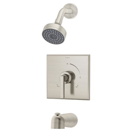 Duro Single Handle Tub and Shower Faucet Trim in Satin Nickel (Valve Not Included)