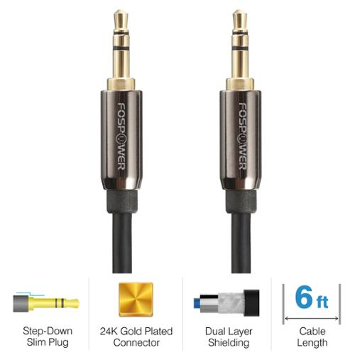 FosPower (6 Feet) High Quality 3.5mm Stereo Jack to Jack Audio Cable - 24K Gold Plated for Smartphones MP3 Tablets