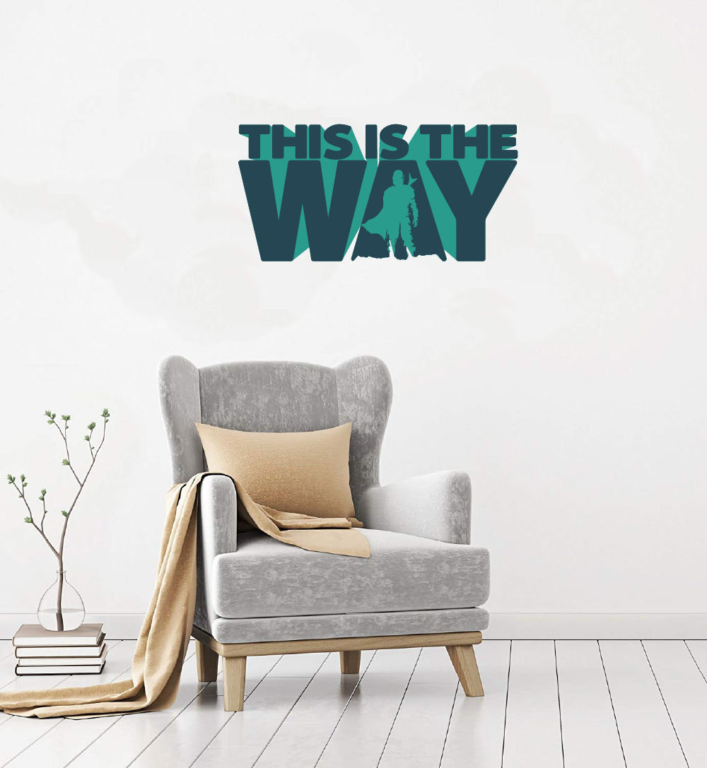 The Way Blue The Mandalorian Star Wars Tv Show Series Wall Cartoon Stickers Decor Design For Boys Girls Bedroom Entertainment Fans Rooms Home Art Decals Wall Art Vinyl Decoration Size 20x40 Inch