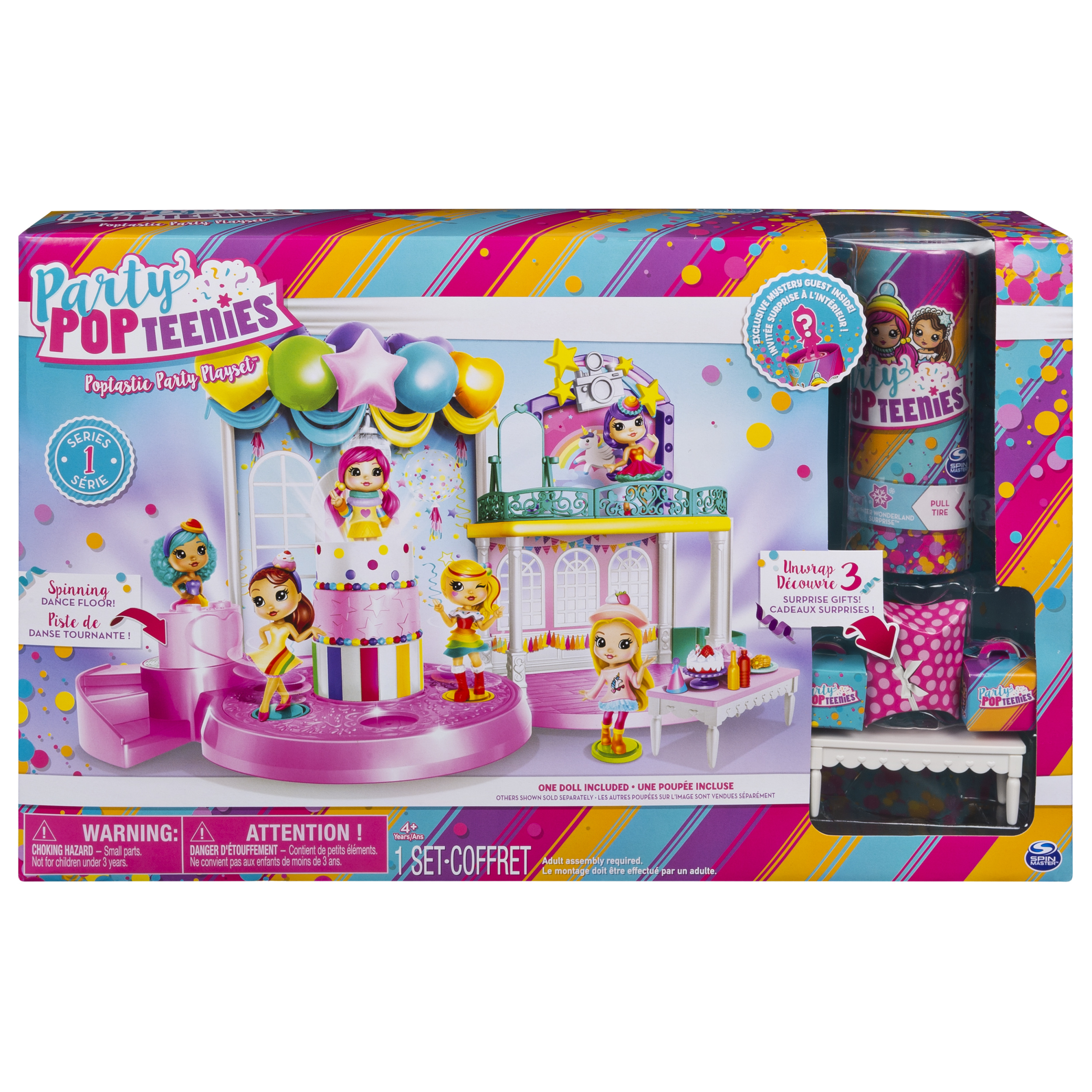 Party Popteenies - Poptastic Party Playset with Confetti, Exclusive Collectible Mini Doll and Accessories, for Ages 4 and Up