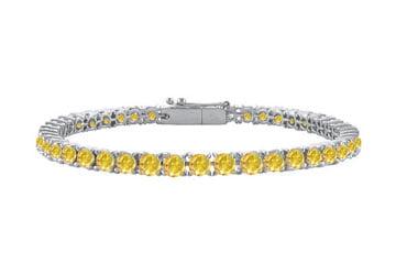 14K White Gold Yellow Sapphire Prong Set 5.00 CT TGW Tennis Bracelet by Love Bright