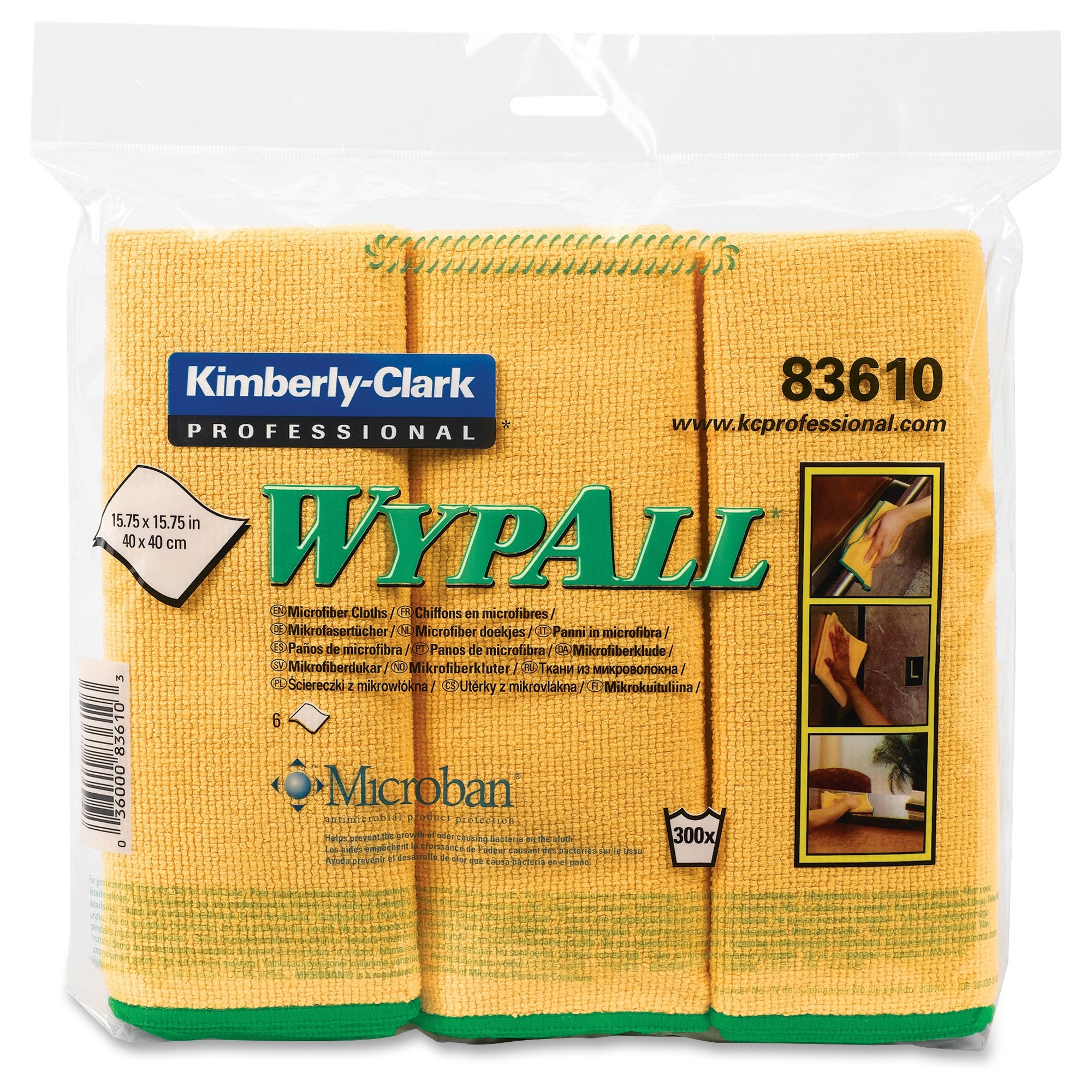 "Wypall Microfiber Cloths - Cloth - 15.75"" Width X 15.75"" Length - 24 / Carton - Yellow (83610ct)"