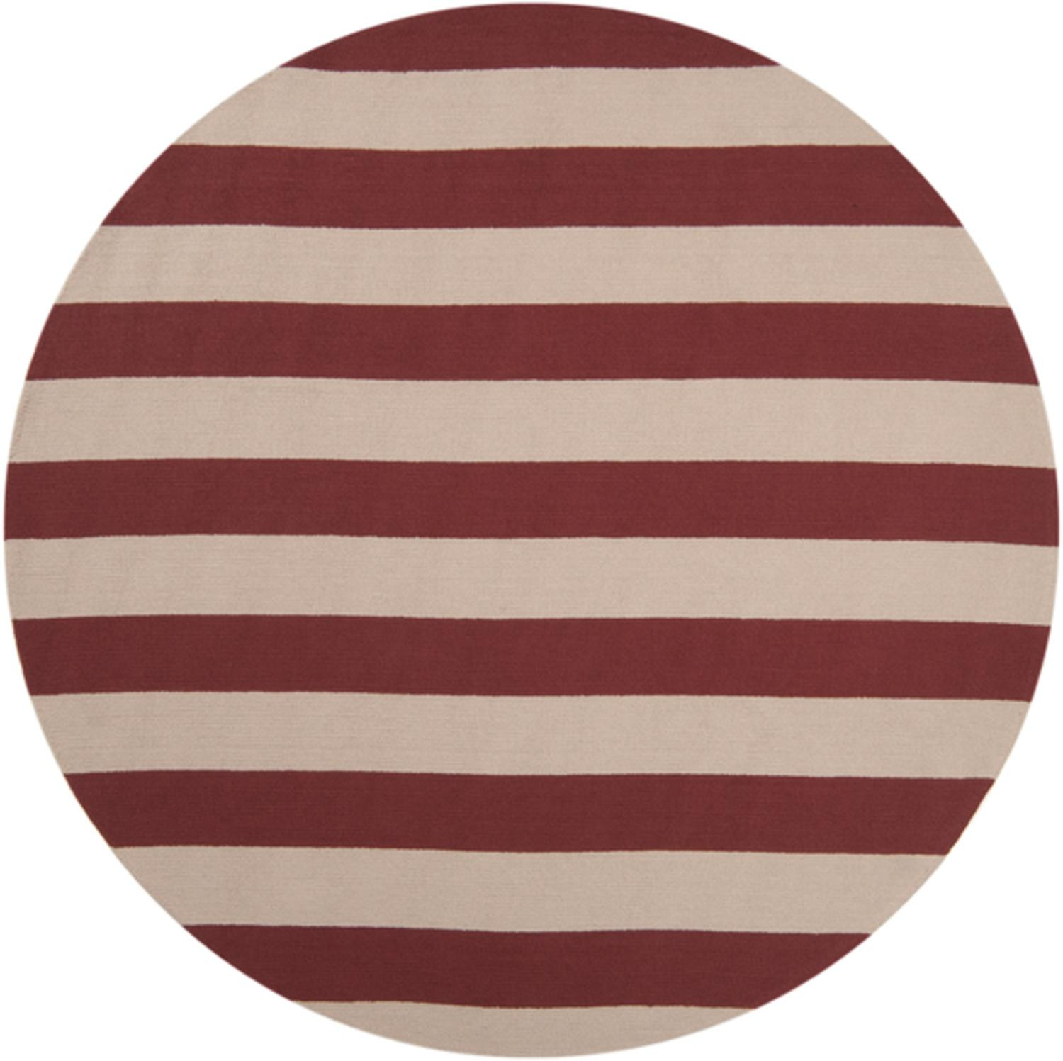 8' Recumbent Striped Carmine Red and Ivory Hooked Round Outdoor Area Throw Rug