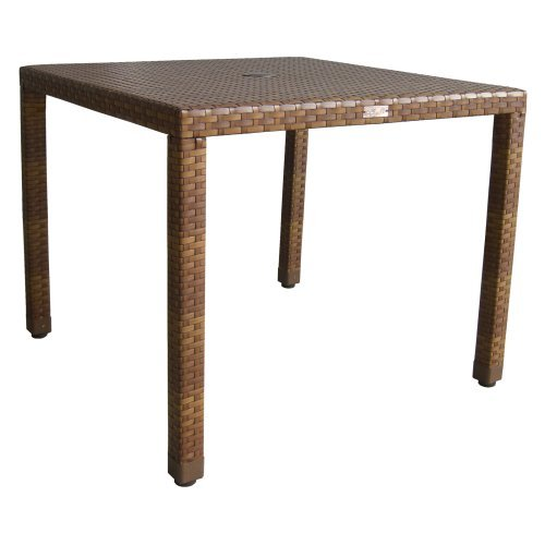 Panama Jack St. Barths Woven 40 in. Square Patio Dining Table - Brown Pine with Viro Fiber