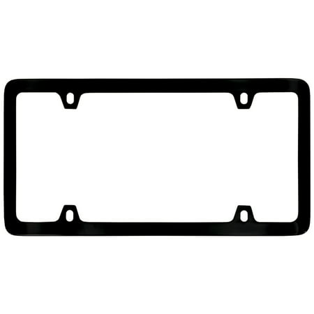 Logo Solid Brass License Plate (Thin Rim Solid Brass 4 hole License Plate Frame (Glossy Black))