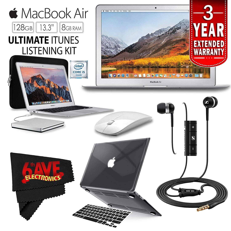 "6Ave Apple 13.3"" MacBook Air 128GB SSD (MQD32LL/A) + iBenzer Basic Soft-Touch Series Plastic Hard Case & Keyboard Cover for Apple Macbook Air 13-inch 13"" (Turquoise) + Apple USB SuperDrive Bundle"