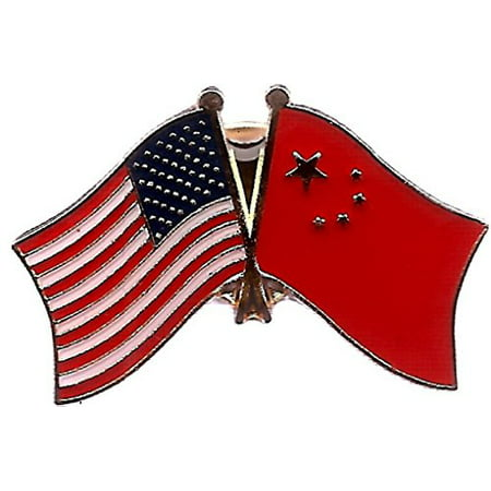 Lapel Pin Box (Box of 12 China & US Crossed Flag Lapel Pins, Chinese & American Double Friendship Pin)
