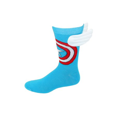 Men's Marvel Captain America Shield Crew Sock with Wings, Size: one size