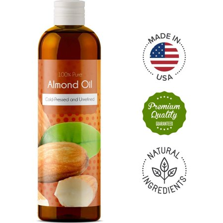 100% Pure Sweet Almond Oil for Skin Nails and Hair Growth Aromatherapy Carrier Oil Moisturizing Anti-Aging Treatment Massage Oil for Stretchmarks Scars Dark Circles Wrinkles Beauty Oil for Smooth